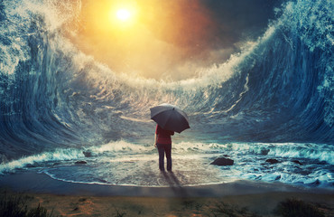 Large waves and woman Wall mural