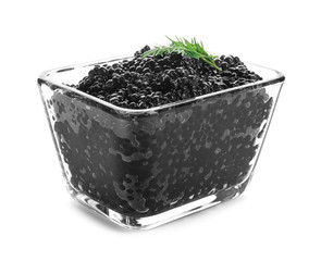 Black caviar in glass bowl on white background