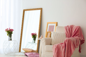 Elegant room interior with large mirror