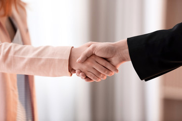 Man and woman shaking hands on blurred background. Unity concept