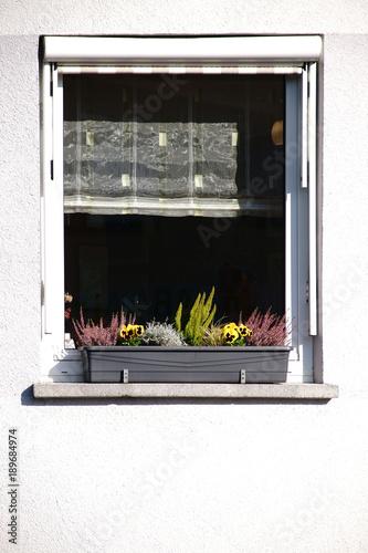 Fenster mit Blumenkasten / Das Fenster eines Wohngebäudes ...