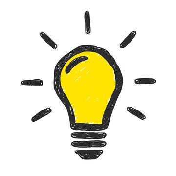 Yellow Lightbulb Doodle Vector
