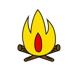 Simple cartoon bonfire illustration