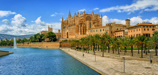 La Seu, the gothic medieval cathedral of Palma de Mallorca, Spain Wall mural