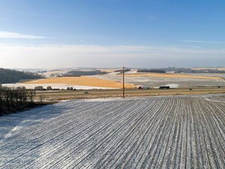 Rural America in Winter - Aerial View