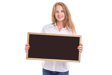 Beautiful caucasian woman in white shirt and holding blank blackboard. Studio shooting isolated on white