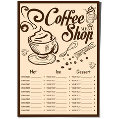 menu coffee shop cafe restaurant template design hand drawing graphic