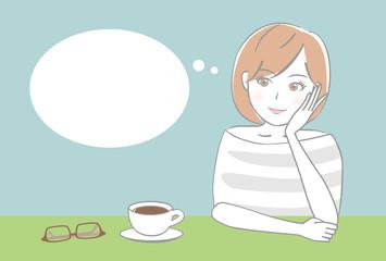 女性 カフェ ふきだし