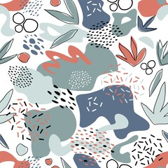 Abstract seamless pattern with chaotic painted elements. Vector Hand drawn texture with different lines, dots and shapes. Creative universal artistic Fun background in Scandinavian style.