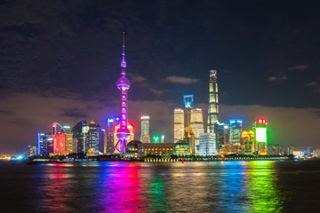 Pudong area of Shanghai at night