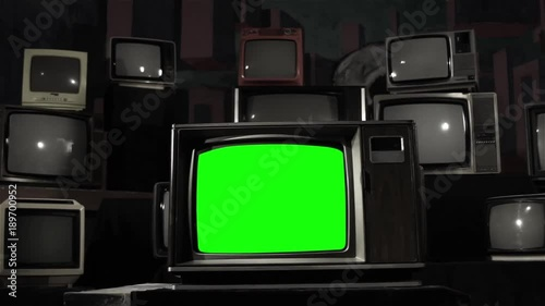 Old Tv with Green Screen  Black and White to Color  You can
