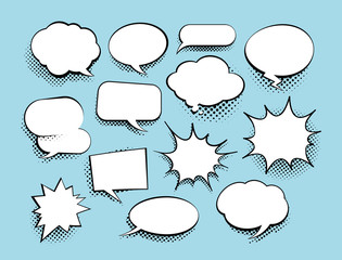 Set of comic art speech bubbles with halftone. Vector illustration