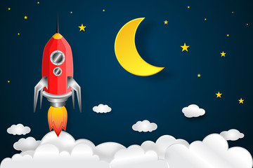 Rocket launch on the half moon, clouds and blue sky in the dark night as paper art, craft style and business Startup project concept. flat design vector illustration.
