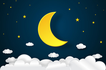 Big half moon, clouds and stars in the dark night as paper art and craft style concept. vector illustrator.