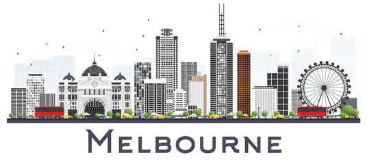 Melbourne Australia City Skyline with Gray Buildings Isolated on White Background.