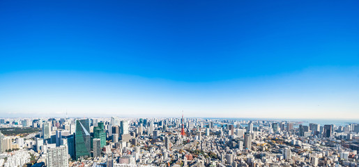 Wall Mural - Asia Business concept for real estate and corporate construction - panoramic modern city skyline bird eye aerial view of tokyo tower and odaiba under blue sky in Roppongi Hill, Tokyo, Japan