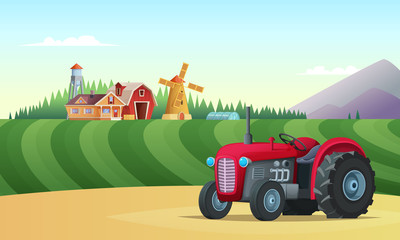 Countryside Farm Landscape. Tractor in the foreground and a farm on the horizon. Vector concept