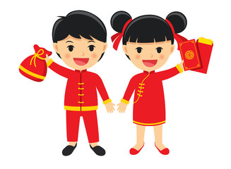 Happy boy and girl in traditional clothes celebrate get chinese red packet.