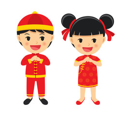 Happy chinese new year boy and girl in traditional clothes celebrate. Set of character cartoon isolated on white background.