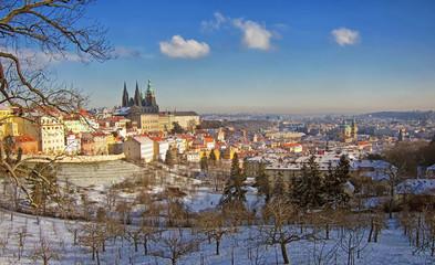 Prag, Blick vom Petrin auf die Burg, Moldau und Altstadt