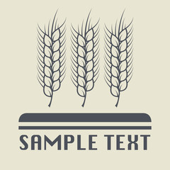 Wheat ear and grain icon or sign