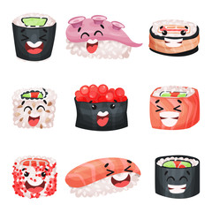 Sushi cartoon characters set, Japanese food with funny faces vector Illustrations
