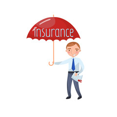 Insurance agent standing with red protecting umbrella, insurance concept cartoon vector Illustration