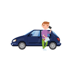 Man holding insurance document and talking by phone while standing in front of blue car, showing paper document, car insurance concept cartoon vector Illustration