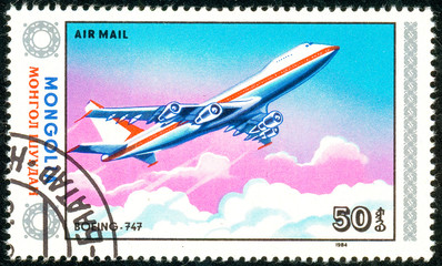 Ukraine - circa 2018: A postage stamp printed in Mongolia show aircraft Boeing 747. Series: Airplanes. Circa 1984.
