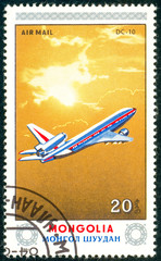 Ukraine - circa 2018: A postage stamp printed in Mongolia show aircraft Dc-10. Series: Airplanes. Circa 1984.