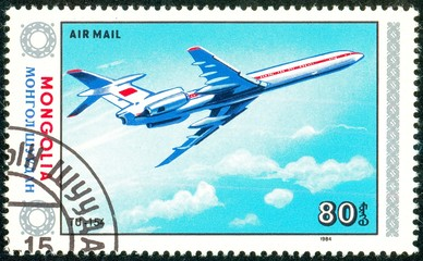 Ukraine - circa 2018: A postage stamp printed in Mongolia show aircraft Tu-154. Series: Airplanes. Circa 1984.