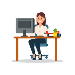 Smiling businesswoman sitting at the desk working with computer, business character working in office cartoon vector Illustration