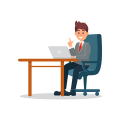 Businessman working at the computer, business character working in office cartoon vector Illustration