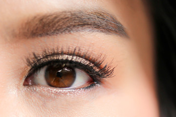 Close-up of beautiful woman eye , beauty concept.