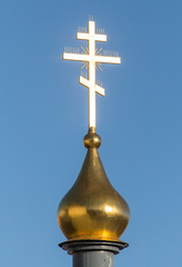 The Golden Cross on the Church of the Russian Orthodox Church