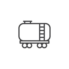 Railroad tank wagon line icon, outline vector sign, linear style pictogram isolated on white. Fuel train symbol, logo illustration. Editable stroke