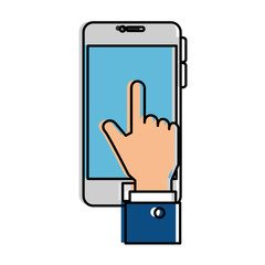 smartphone device with hand touching