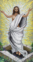 Full-length jesus mosaic with arms in prayer position