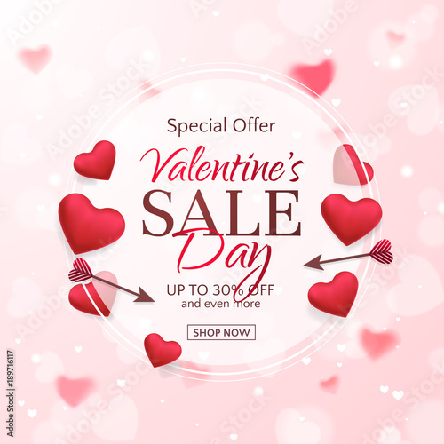 vector template of sale banner for valentines day with red hearts and arrows holiday pink