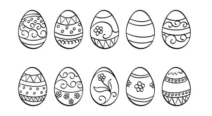 Decorated Easter Eggs Outline