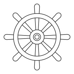 Wooden ship wheel icon outline
