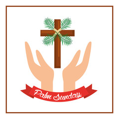 palm sunday passion christ hands with cross vector illustration