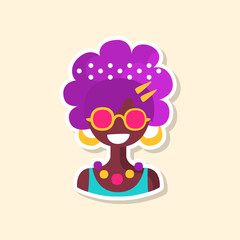 Cute colorful hippie woman, sticker in bright colors, fashion patch vector illustration, cartoon style