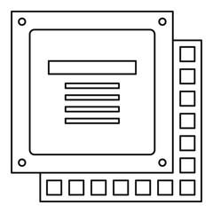 Computer CPU processor chip icon outline