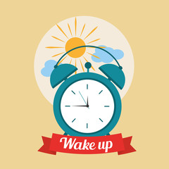 wake up good morning poster with alarm clock and clouds vector illustration