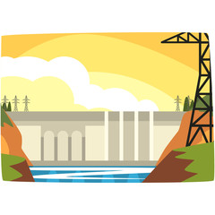 Hydroelectric power plant, hydro energy industrial concept, renewable resources horizontal vector illustration