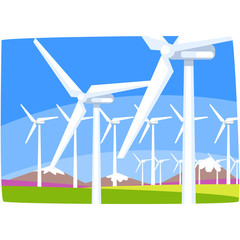Wind power station, ecological energy producing station, renewable resources horizontal vector illustration