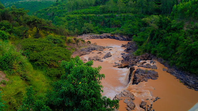 Panorama of rapids and waterfall at Awash river in Ethiopia