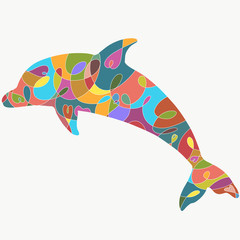 Dolphin with colorful pattern, silhouette