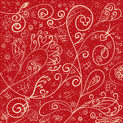 Red background with a romantic gentle pattern